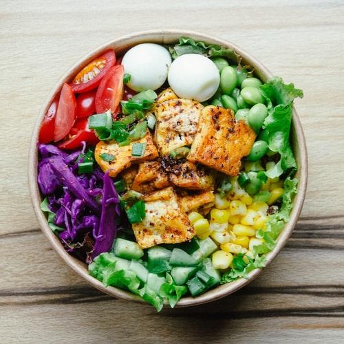 Vegetarian buddha bowl with tofu