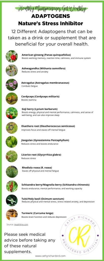 12 different adaptogenic plants infographic